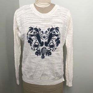 Madewell Long Sleeve lWhite with Blue size Large